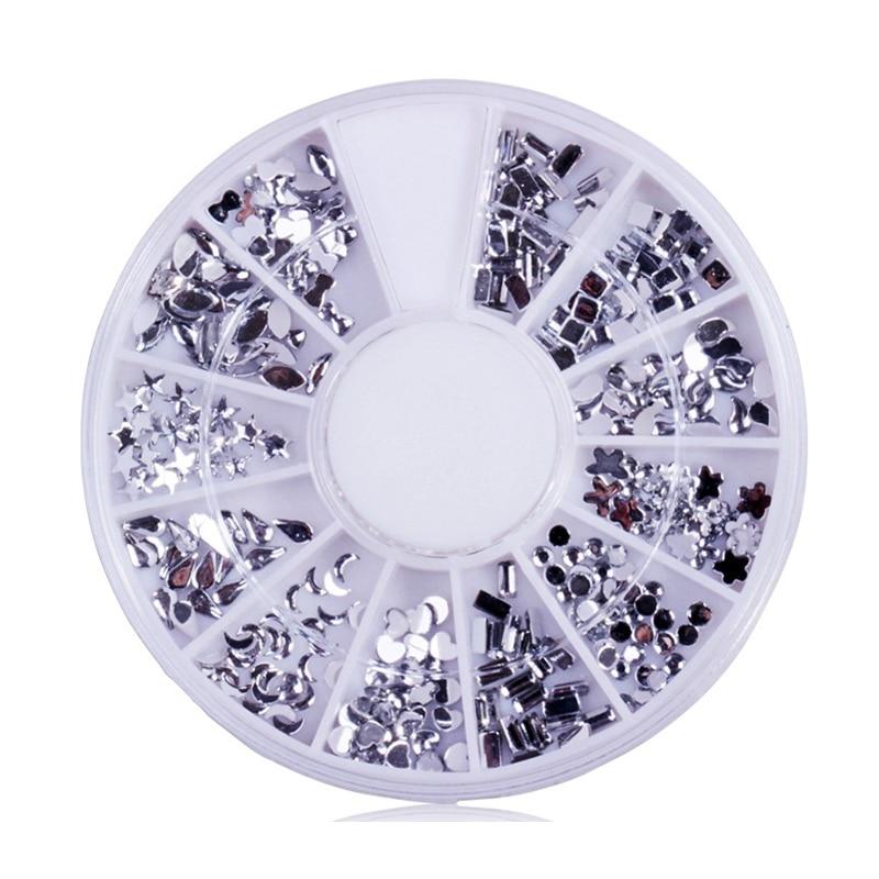 3D Round White Diamond Manicure Decorated Tools  Nails Art  2 squares diamond shape mixed Rhinestones Decoration Diy Nail Wheel