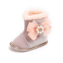 New Design Pearl Accessories Baby Boots Pure Cotton Keep Warm In Winter Infant Toddler Shoes