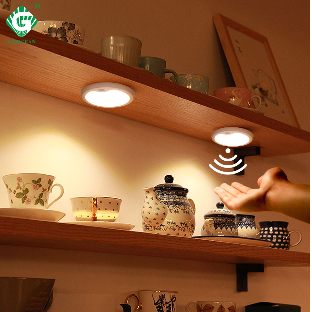 3W Motion Sensor 12V LED Light Puck Lamp Kitchen Under Cabinet Light Wardrobe Cupboard Closet PIR Night Lighting