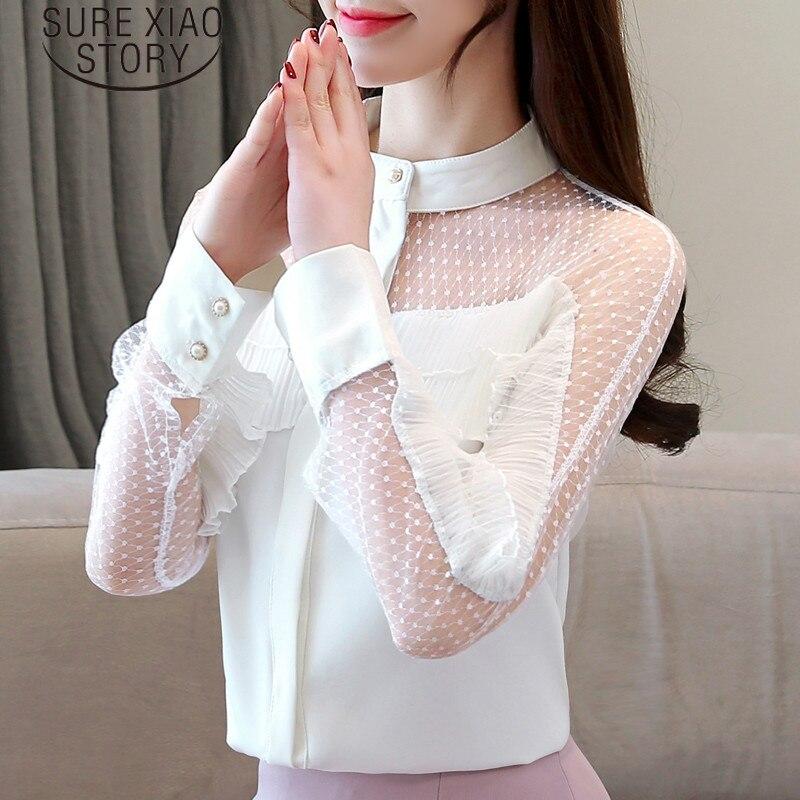 Mujeres Harajuku Empalmado Collar Mujer Gasa Blusas 2019 50 abajo Blusa Tops Moda blanco Giro Y Rojo 1974 De OI4xdvw0
