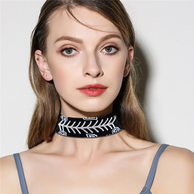 Punk Chokers Collar Zirconia Chorkers Silk Scarf Necklace for Women Fashion Jewellery