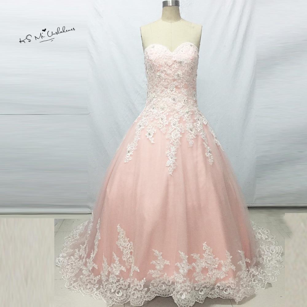 Rose moda manga larga blanco marfil vestido de novia con Colorete ...