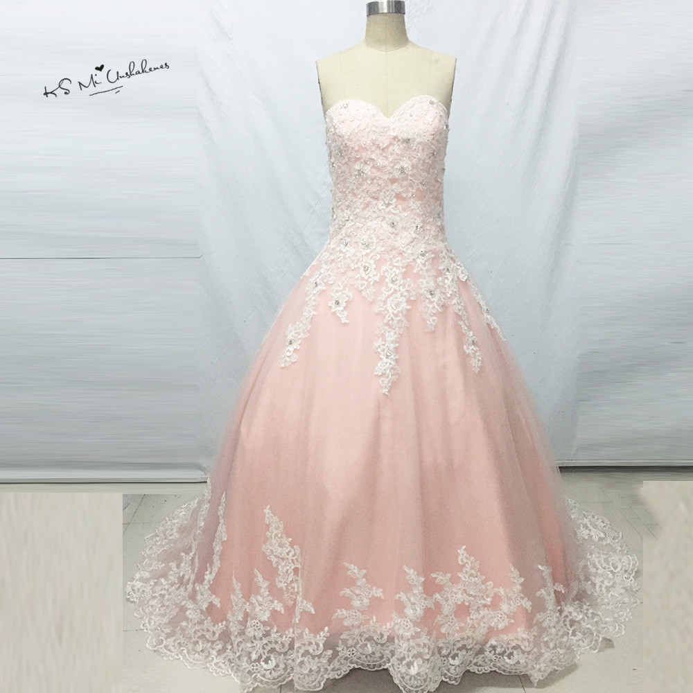 White lace pink wedding dresses plus size vestido de noiva for Plus size pink wedding dresses