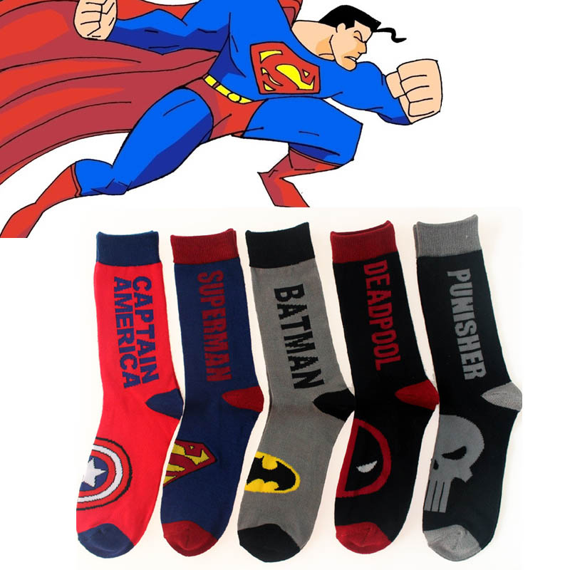 Mens Funny Happy Cotton Crew Socks Thick Winter Superman SpiderMan Captain America Avenge Mens and Male Socks Chaussette Homme