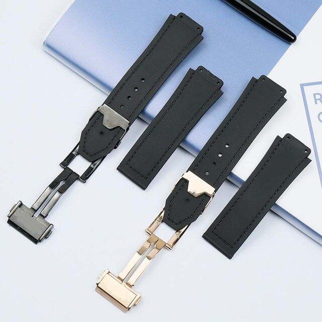 Men's Watch Belt for Hublot Anti-Sweat Waterproof Folding Buckle 19mmx 25mm Women's Rubber Watch Accessories band 4