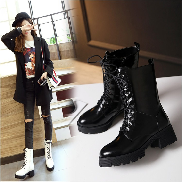 2016 New Autumn And Winter Women's Shoes White Pumps Black Leather Lace Up High Heel Ankle Booties Chunky Platform Boots Online