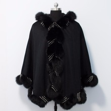 2018 new Free shipping, Drop shipping cashmere cape with real fox fur trim , length 90cm with crystal lines and hood
