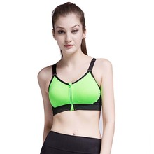 Newest Women's Zipper Permeable Sports Bra Wirefree Yoga Bras Tank Top Shakeproof Push Up Green S