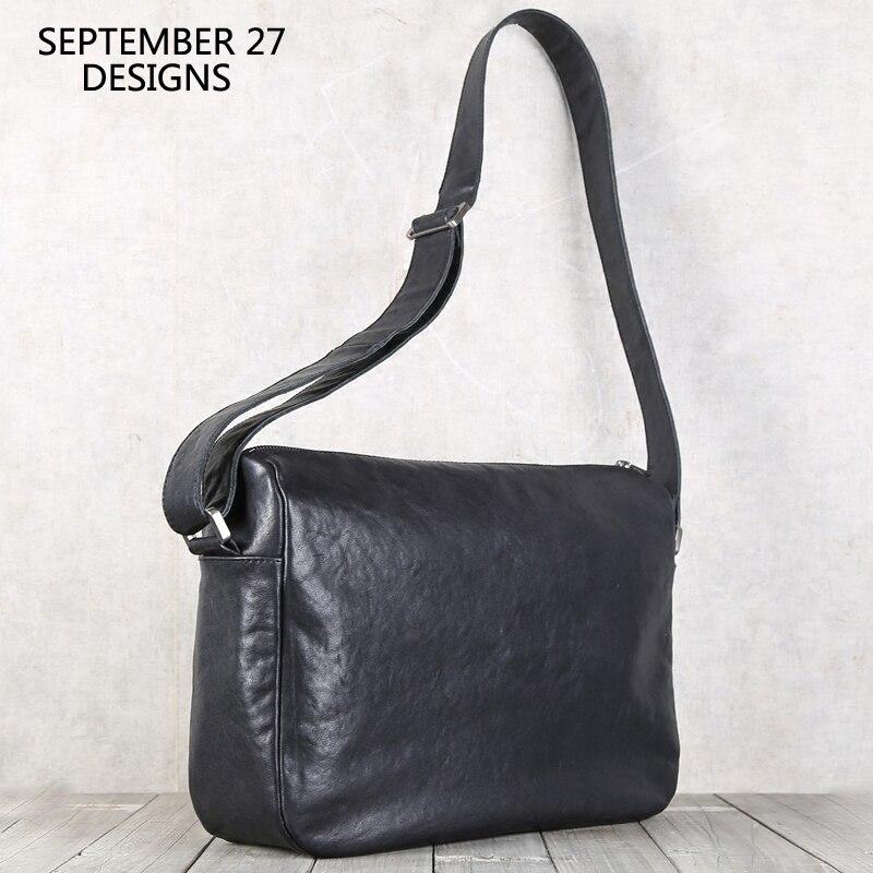 Messenger Bags Men First Layer Cow Leather Top-end Handmade Luxury Simple Crossbody Bag Male Zipper Travel Shoulder Bag Handbags