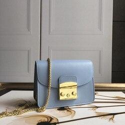 De alta calidad bolsos de cuero genuino de las mujeres cadena de oro bolsa de lujo Cartera de mujer con diseño exclusivo de 100% bolso de piel de vacuno