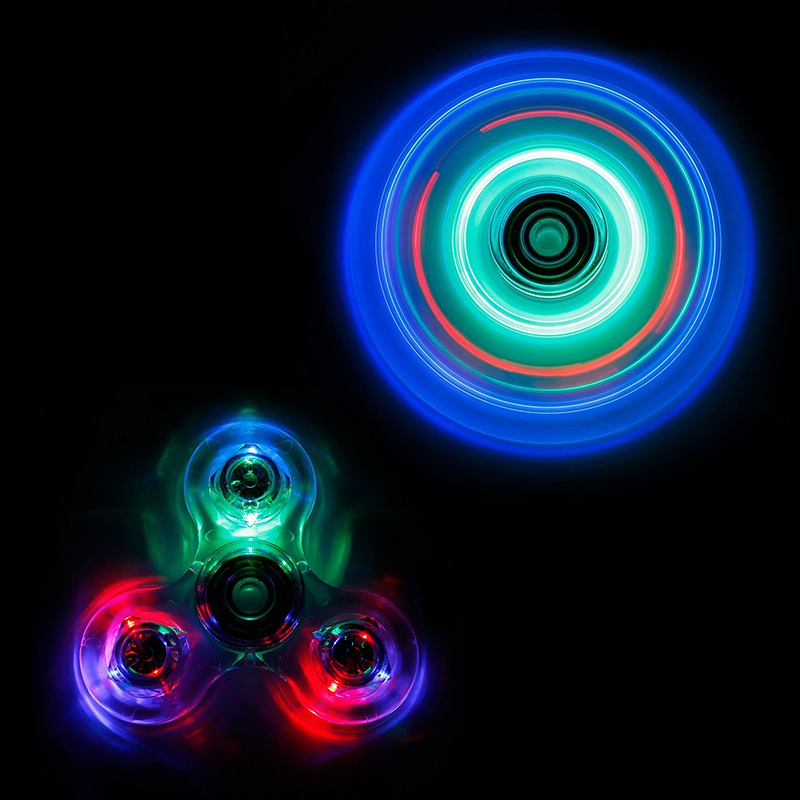 LED Transparent Tri Spinner Fidget Spinner Plastic EDC For Autism and ADHD Hand Spinners Board Game