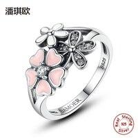 100% 925 Sterling Silver Hồng Men Flower Thơ Mộng Daisy Cherry Blossom Vòng Tay cho Phụ Nữ Tương Thích với pan jewelery