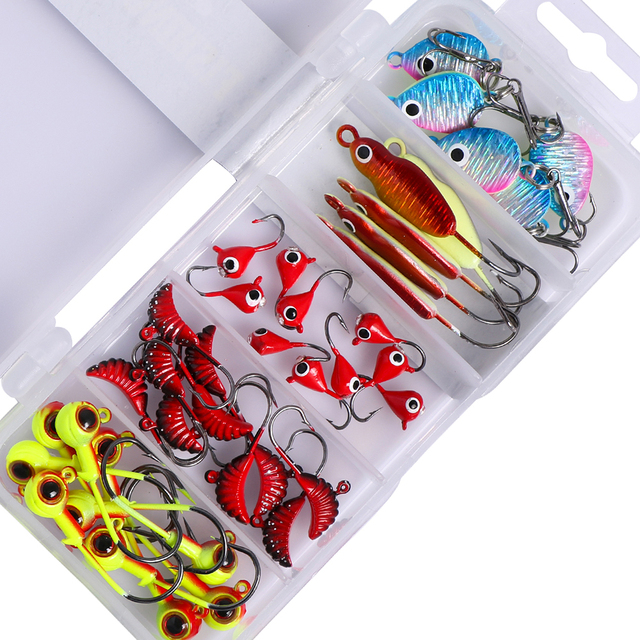 Goture 40pcs Winter Fishing Ice Fishing Bait Hard 0.6g-6.2g Jig Head Lure/Metal Spoon