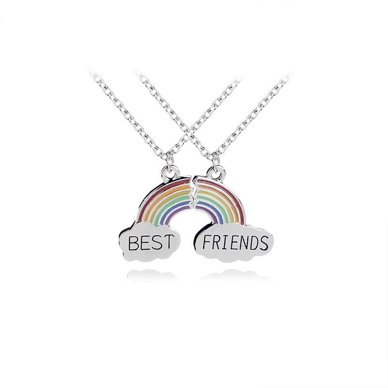 Best friend series rainbow metal two-piece necklace set 0 word chain drop oil colorful necklace image