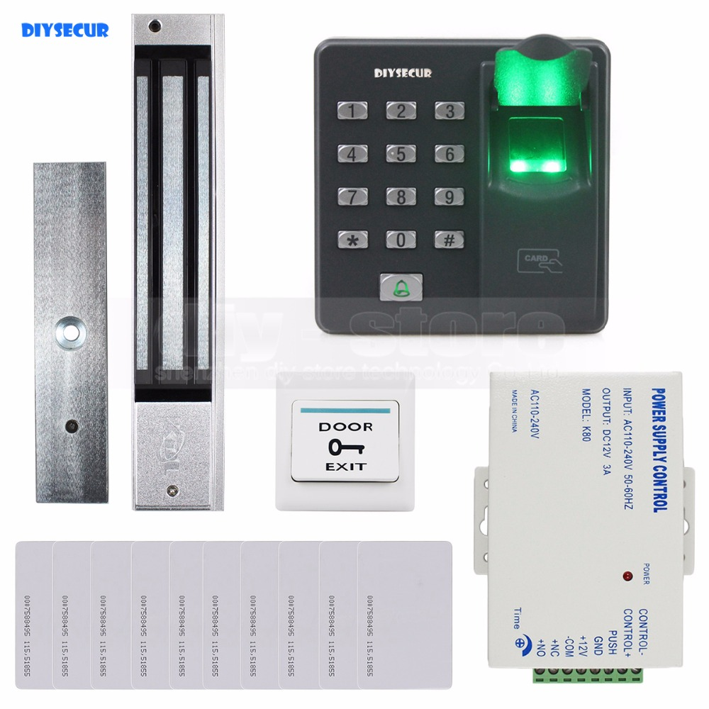 DIYSECUR Biometric Fingerprint RFID 125KHz Keypad Door Access Control System Kit + Electric Magnetic Lock diysecur magnetic lock door lock 125khz rfid password keypad access control system security kit for home office