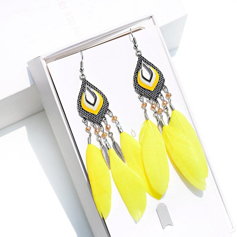 Новинка, классические висячие серьги с желтыми длинными перьями, пляжные Серьги серебряного цвета, свадебные украшения для невесты, серьги-...