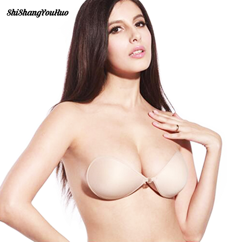 Sexy Women Invisible Push Up Bra Self-Adhesive Silicone Bust Front Closure sticky bra Backless Strapless Bra