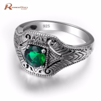 100 Real Pure 925 Sterling Silver Rings With Emerald Stone For Women Men Bulgaria Jewelry Vintage