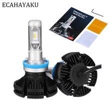 ECAHAYAKU 2PCs X3 ZES H4 H7 LED Car Headlight Bulb 3000K/6500K/8000K Yellow White Ice Blue Lamp H11 9005 9006 Lights