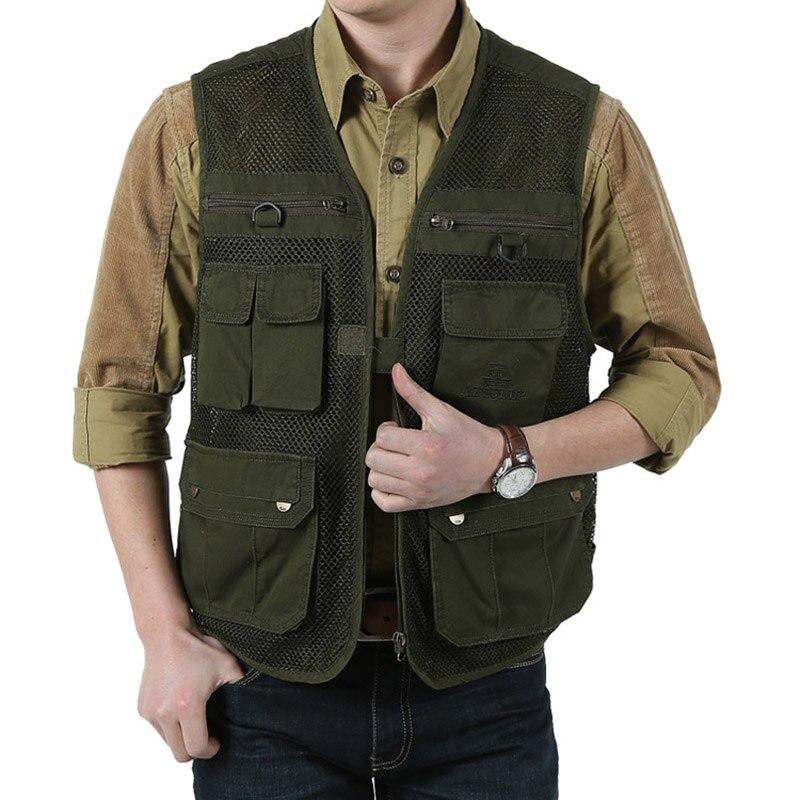 2018 Summer Mens Mesh Breathable Vest With Multi-pocket Vest Men Solid Zipper Two Colors Vest Plus Large Size 3XL Waistcoat