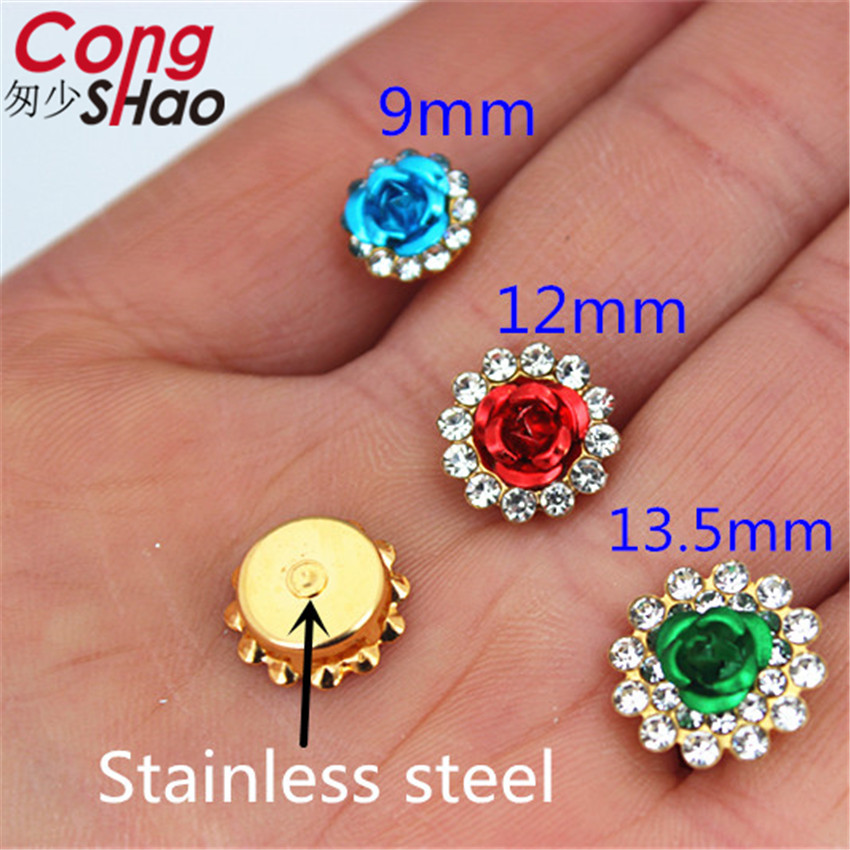 Cong Shao Rose Round crystals rhinestone trim With Metal Stainless steel Claws flatback sewing Glass For DIY Wedding dress WC511