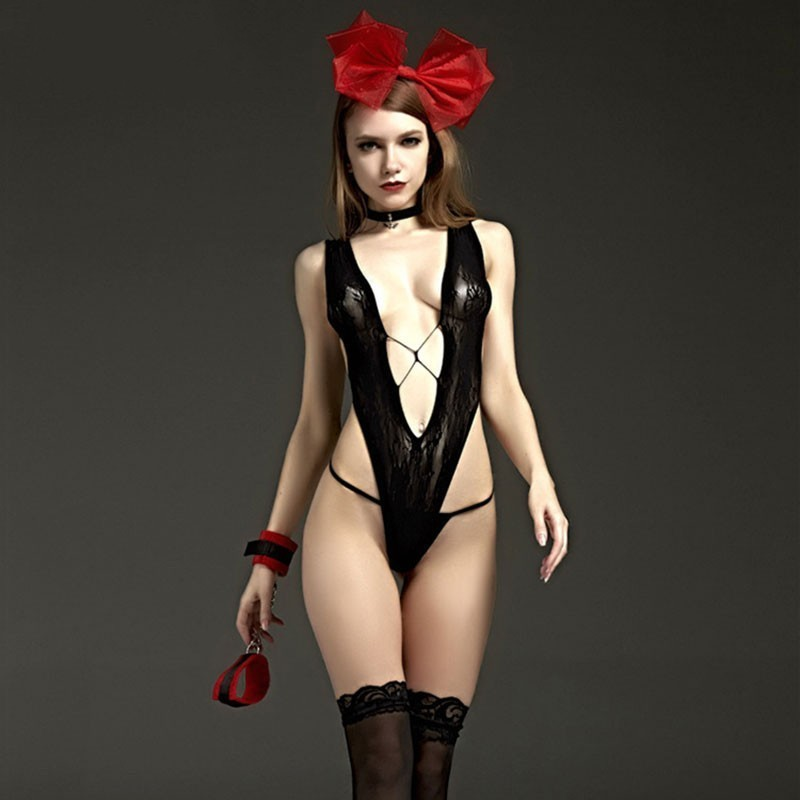 2019 Hot Erotic Deep V Exotic Wear Teddy Baby Dolls <font><b>Dress</b></font> Lingerie Underwear For <font><b>Adult</b></font> Women <font><b>Sexy</b></font> Costumes Chemises image