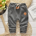 Outono Bebê Meninos Listrado Imprimir Casual Drawstring Cintura Calças Infantis Calças Corpo Inteiro Calças roupas de bebe
