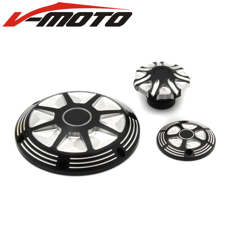 Motorcycle CNC Deep Cut Derby Timing Timer Covers Cover&Fuel Gas Tank Oil Cap For Harley Sportster XL 883 1200 2004-2016 1set motorcycle derby cover timing timer covers cnc aluminum for harley davidson xlh xl 883 883l 1200c 1200l sportster 883n iron