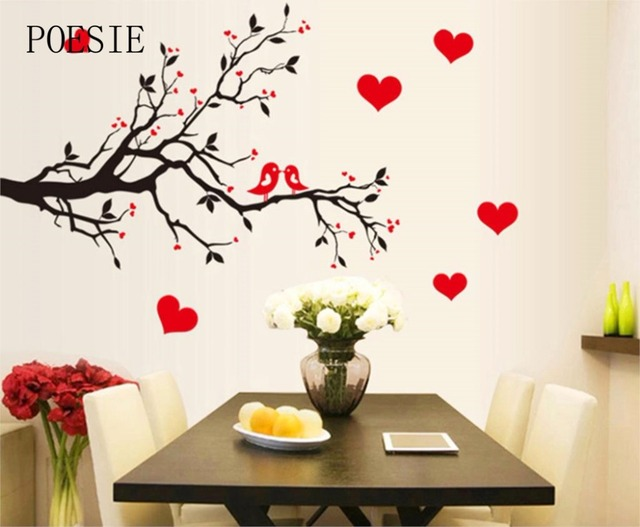 Fashion Red Love Heart Wall Stickers Home Decor Life Tree Wall Sticker Home  Decor Cute Birds