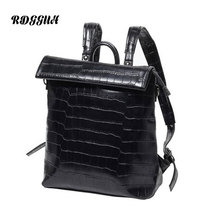 RDGGUH Brand Fashion Leather Backpack Men Leisure Laptop Backpacks High Quality Crocodile Pattern School Bags For