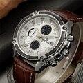 Megir genuino de cuarzo masculino reloj superior de la marca de lujo de cuero relojes racing hombres cronógrafo luminoso deporte reloj de pulsera reloj hombre