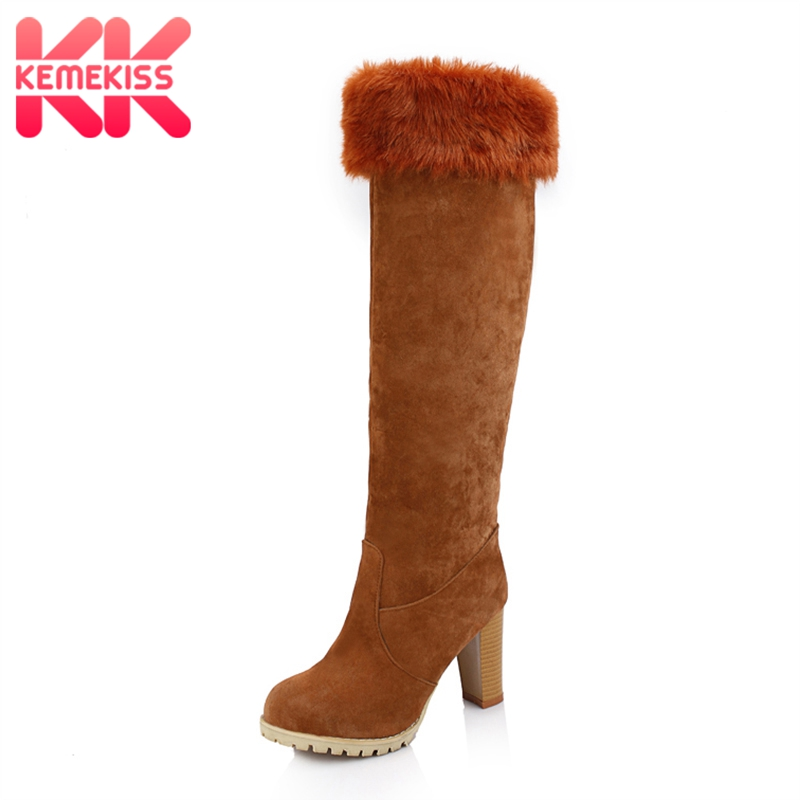 KemeKiss Plus Size 34-47 Women Snow Knee Boots High Heel Shoes Plush Insole Fur Warm Round Toe Platform Winter Boots Women Shoes doratasia big size 34 43 women half knee high boots vintage flat heels warm winter fur shoes round toe platform snow boots