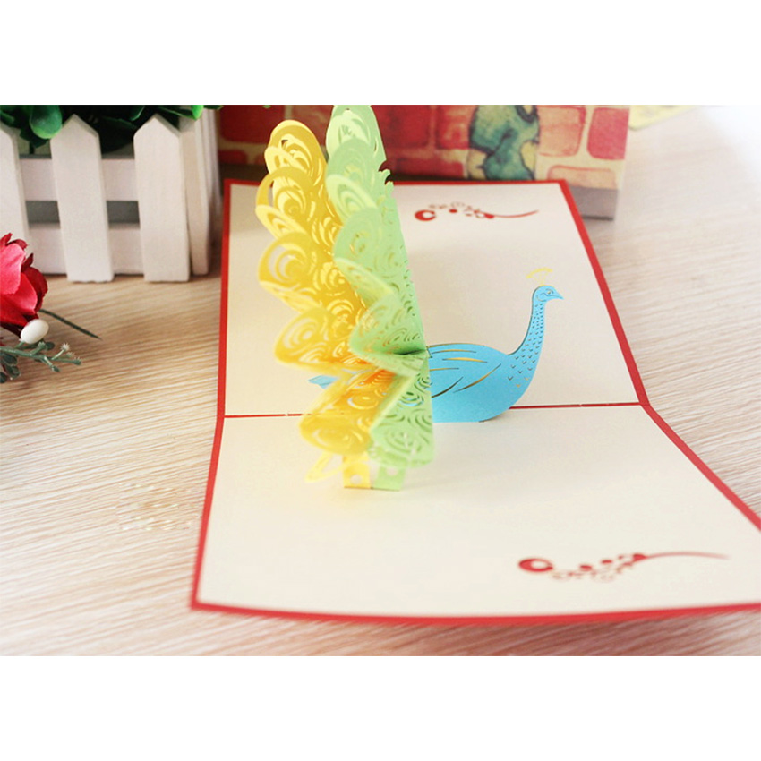 Pop Up Handmade Greeting Cards Vintage Pea Flaunting Its Tail Creative Wedding Invitations Postcard Birthday Card In From