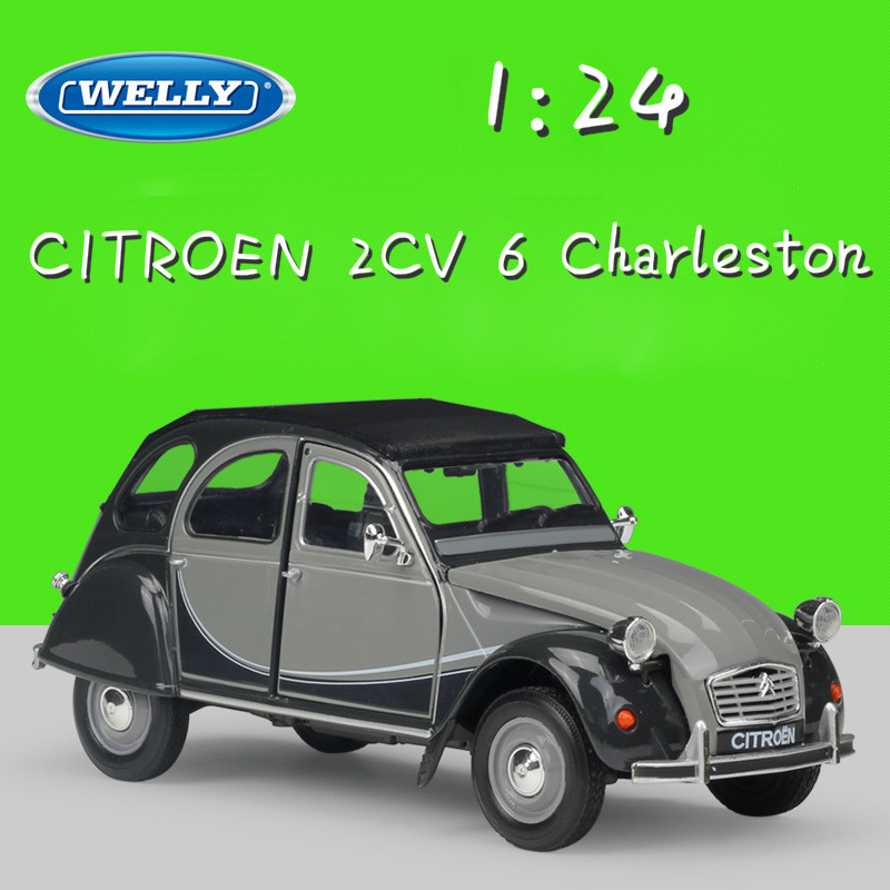 WELLY 1:24 Scale Metal Classic Model Car CITROEN 2CV 6 Charleston Diecast Toy Car Alloy Cars Toys For Children Gifts Collection christmas gift aurelia b24 1 18 model diecast car collection alloy table decoration toys classic cars scales present for fans