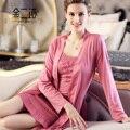 Primavera e outono de seda robe de seda das mulheres