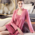 Spring and autumn new arrival mulberry silk women's silk robe set