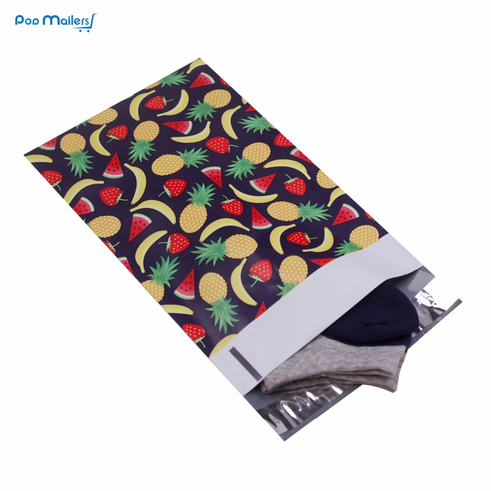 все цены на 100pcs 15x23cm 6x9 inch Fruits design Poly Mailers Self Seal Plastic Envelope Bags онлайн