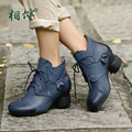 Thick High Heel Comfortable platform Real Leather Women Short Blue Boots Fashion Shoes Lace-Up female Ankle Boots