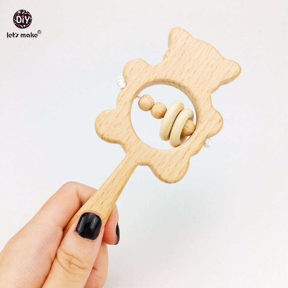 Let's Make Baby Toys Beech Wooden Rattle Teethers Chew Wood Beads Teething Montessori Toys Food Grade Wooden Baby Rattle Teether let s make baby teether wood animal rattle organic teether jungle toy wooden waldorf toys diy accessories can chew baby teether