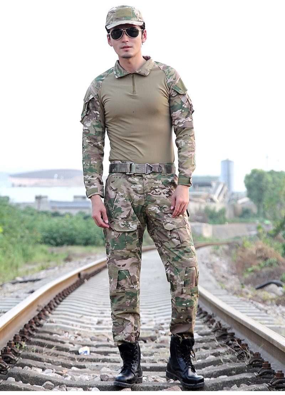Uniforme de Combat militaire Multicam armée chemises et pantalons avec genouillères costume de Camouflage chasse Paintball vêtements