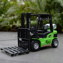 1:24 escala diecast metal caminhão modelo de brinquedo com som & luz puxar para trás empilhadeira réplica