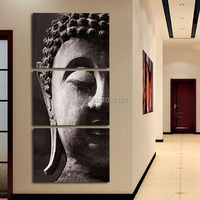 Handpainted 3 Panel Wall Art Religion Buddha Oil Painting On Canvas No Framed Room Panels For