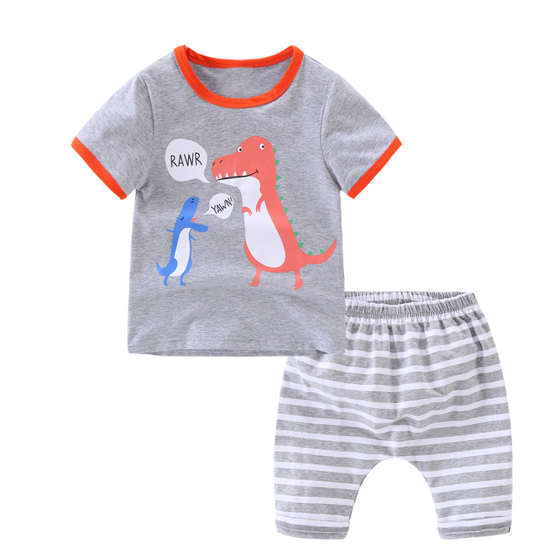2018 new summer Childrens clothing boys cloth sets short sleeve striped dinosaur suit child clothes+pants two pcs sets tide