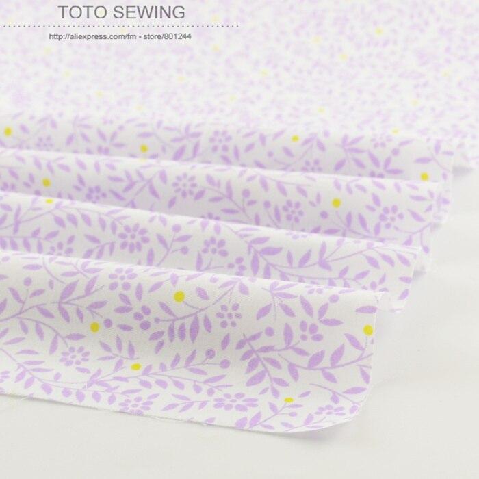 White cotton fabrics purple leaves 50cmx160cm/piece tilda telas for bedding home textile cloth patchwork free shipping