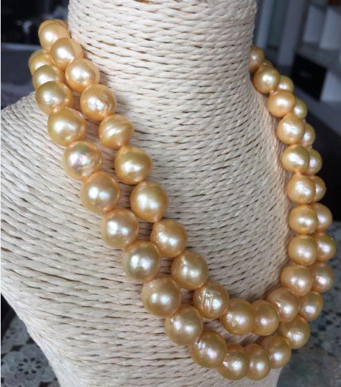 Splendida 11-12mm oro perla dacqua dolce barocco collana di perle 38inch925silverSplendida 11-12mm oro perla dacqua dolce barocco collana di perle 38inch925silver