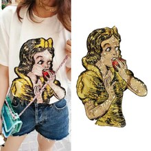 1 piece Sew On Patches for T-Shirt Coat DIY Handmade Sweet Girl Sequins Embroidered Reverse Collar Patch Applique NL133