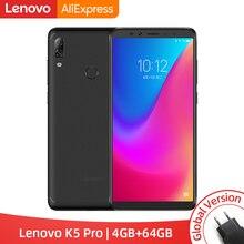 グローバルバージョンレノボ K5 プロ 4 ギガバイト 64 ギガバイト Snapdragon636 オクタコアスマートフォン 4 カメラ 5.99 インチ 18:9 4 グラム lte 携帯電話 4050mAh
