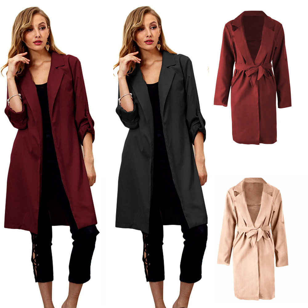 Women Turn-down Collar Long Trench Coat Adjustable Sashes Long Sleeve WOMDY0010