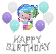 45pcs/set  mermaiden happy birthday party banners mermaid balloons princess girl decorations silver globos