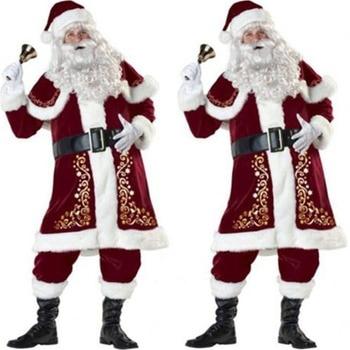 Thicken  XLL Gold Velvet Santa Claus Suit Deluxe Men's Christmas 8pcs Set Fancy Dress Costume Xmas Santa Claus Costume